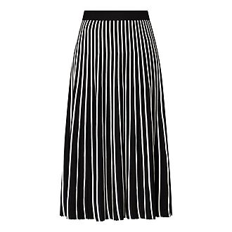 Knitted Stripe Pleated Skirt