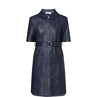 Short Sleeve Leather Dress