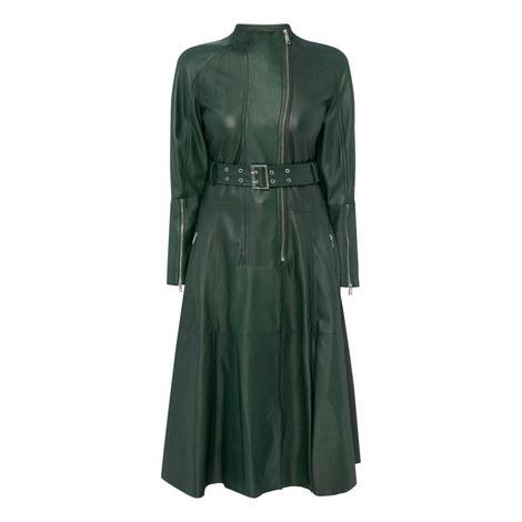 Fresco Leather Coat Dress, ${color}