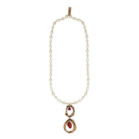 Double Drop Pearl Necklace, ${color}