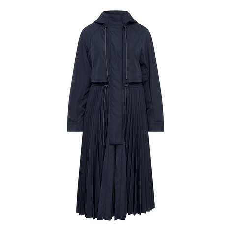 Terry Pleated Half Zip Coat, ${color}
