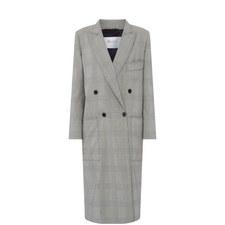 Zarina Wool Check Coat
