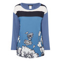 Long Sleeve Flower Jersey Top, ${color}