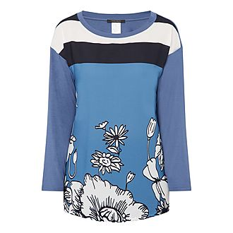 Long Sleeve Flower Jersey Top