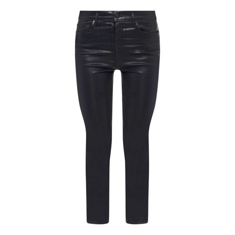 Leather High Rise Slim Fit Jeans, ${color}