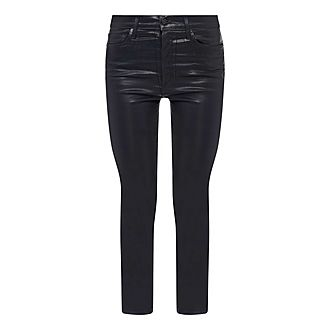 Leather High Rise Slim Fit Jeans