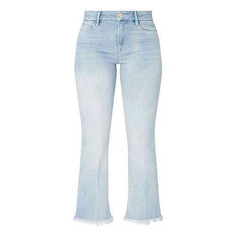 Cropped Mini Bootcut Jeans, ${color}