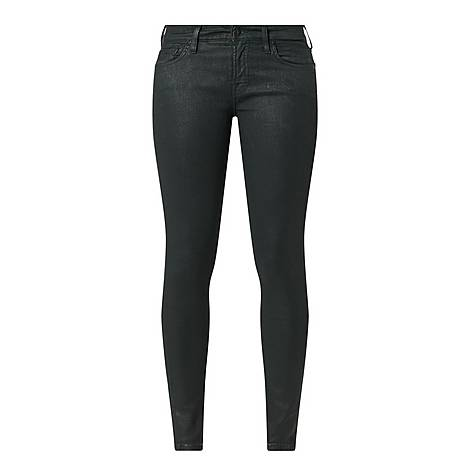 Coated Faux-Leather Skinny Jeans, ${color}