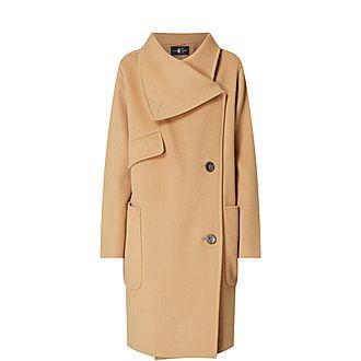 Draped Lapel Wool Coat
