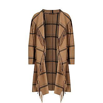 Fringed Check Coat