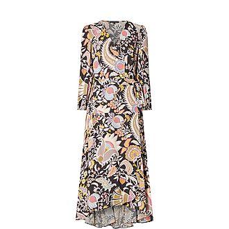 Botanical Print Wrap Dress