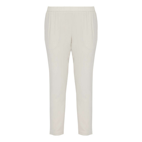 Silk Georgette Crepe Trousers, ${color}