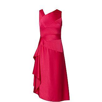 Asymmetrical Neckline Satin Dress