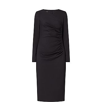 Long-Sleeved Ruched Waist Dress
