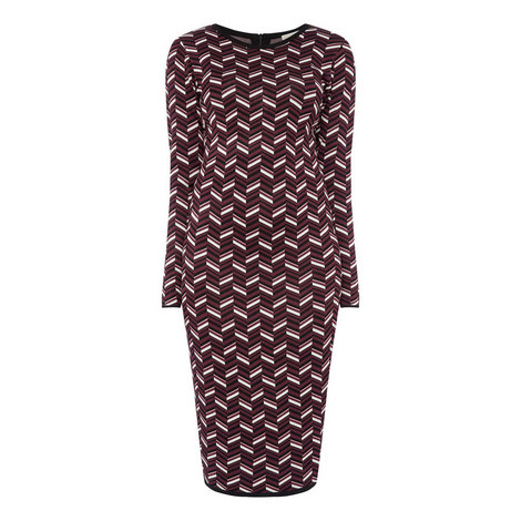 Chevron Jacquard Dress, ${color}