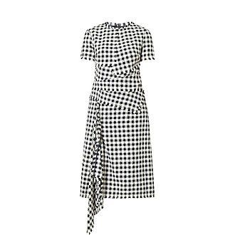 Check Asymmetric Hem Dress