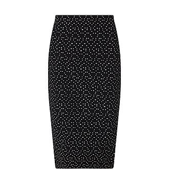 Dotted Pencil Skirt