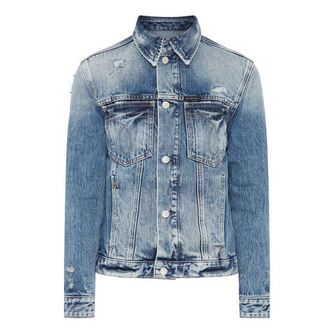 Distressed Denim Jacket, ${color}