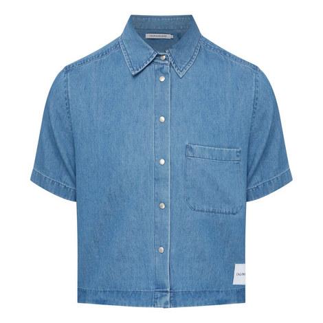 Cropped Denim Shirt, ${color}