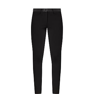 Faux-Leather Trim Trousers