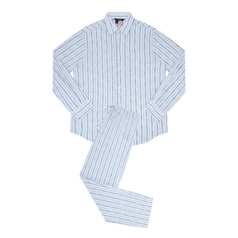 Stripe Print Pyjama Set, ${color}
