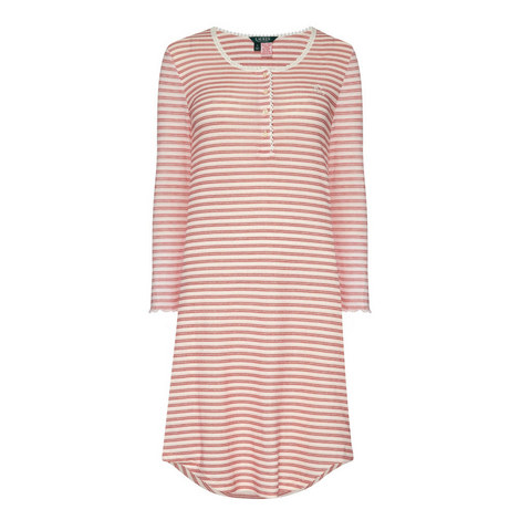 Stripe Print Night Dress, ${color}