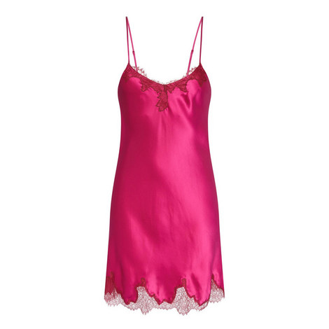 Lace Trim Silk Chemise, ${color}