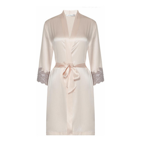 Lace-Trimmed Silk Robe, ${color}
