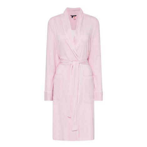 Shawl Herringbone Print Robe, ${color}