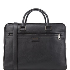 Double Zip Leather Briefcase
