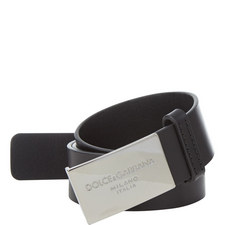 Logo Plaque Leather Belt