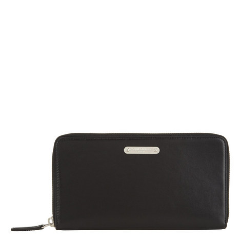 Leather Plate Zip-Around Wallet, ${color}