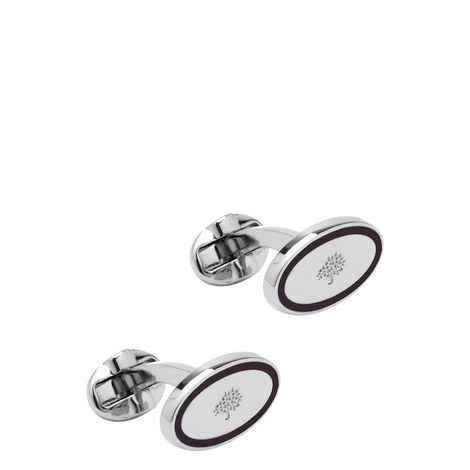 Oval Enamel Cufflinks, ${color}