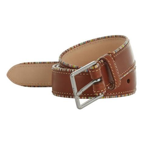 Stripe Trim Leather Belt, ${color}
