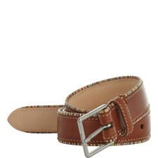 Stripe Trim Leather Belt