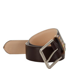 Stripe Detail Leather Belt