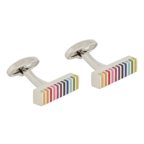 Striped Rectangular Cufflinks, ${color}
