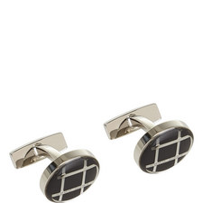 Arthur Cross Print Round Cufflinks
