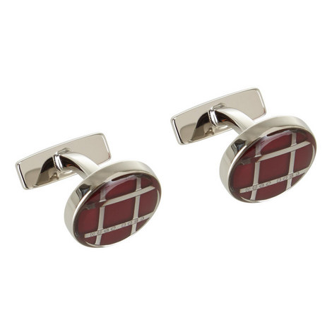 Arthur Cross Print Round Cufflinks, ${color}