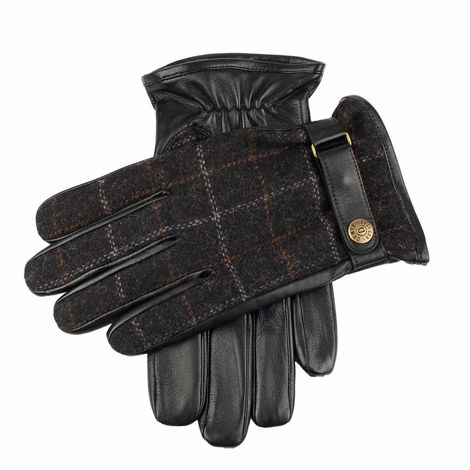 Edinburgh Check Leather Gloves, ${color}