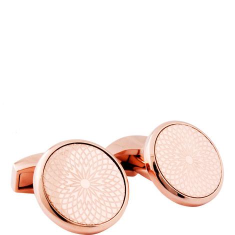 Round Rotondo Guilloche Cufflinks, ${color}
