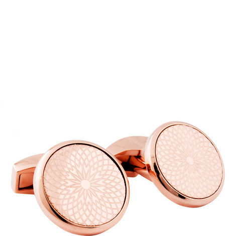 Round Rotondo Guilloche Cufflinks, ${color}