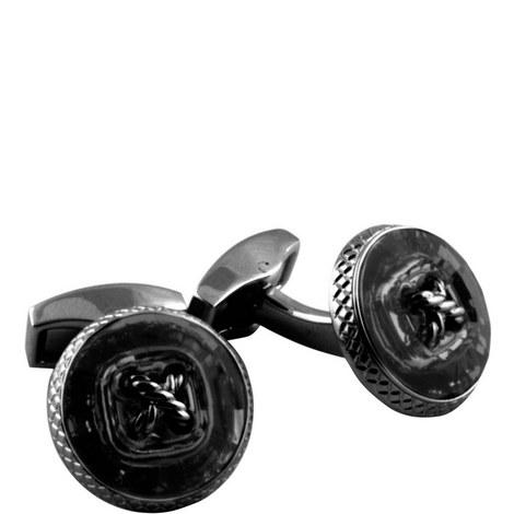 Gunmetal Swarovski Button Cufflinks, ${color}