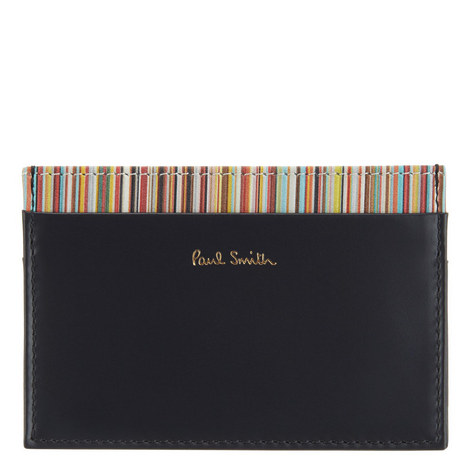 Striped Leather Card Holder, ${color}