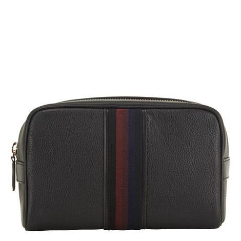 Leather Stripe Detail Webbing Washbag, ${color}