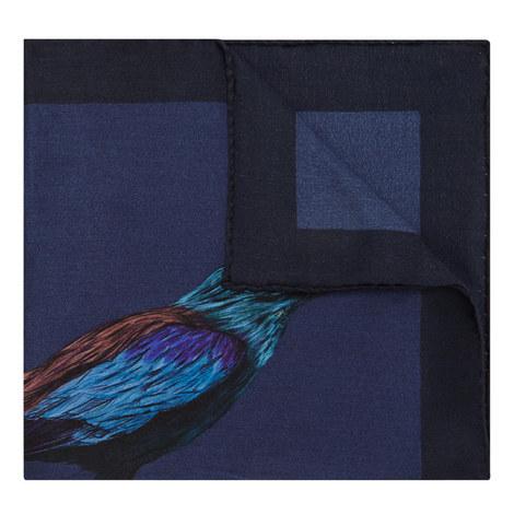 Bird Print Silk Pocket Square, ${color}