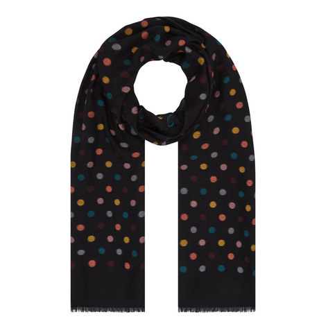 Polka Dot Print Scarf, ${color}