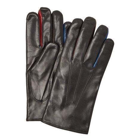 Panelled Leather Gloves, ${color}