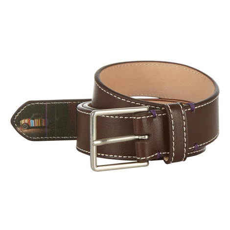 Stitched Leather Belt, ${color}