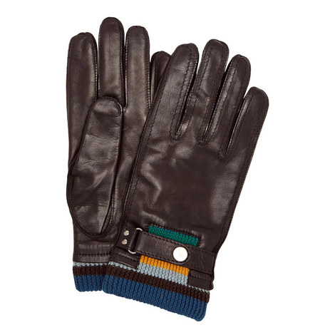 Wool Cuff Leather Gloves, ${color}